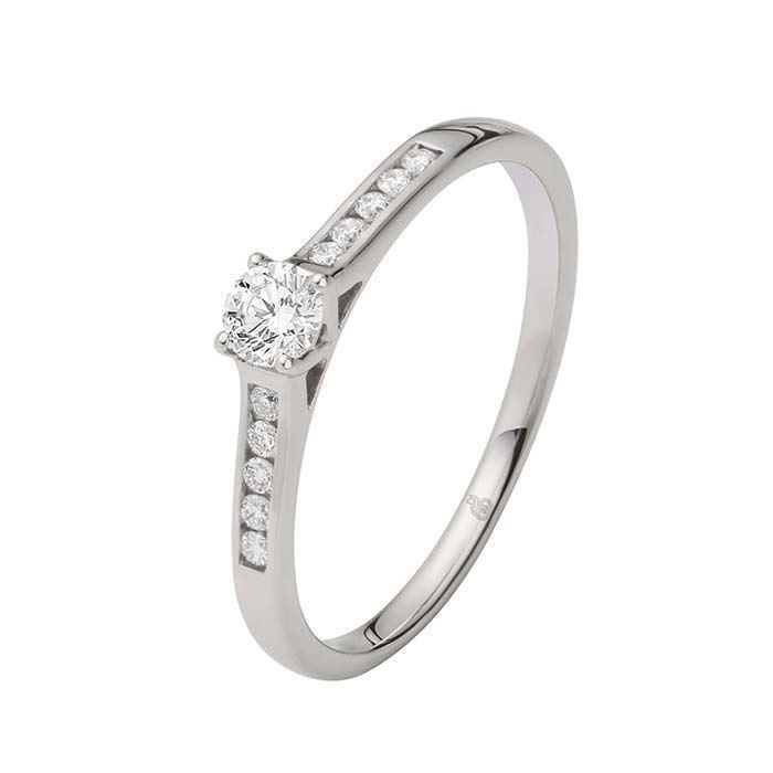 Flerstens diamantring Ja! med 0,24 ct TW-Si i 9kt gull -5100034
