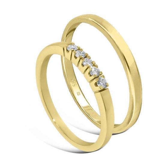 Giftering & diamantring Iselin gult gull 14 kt, 2 mm - 115200-85050300