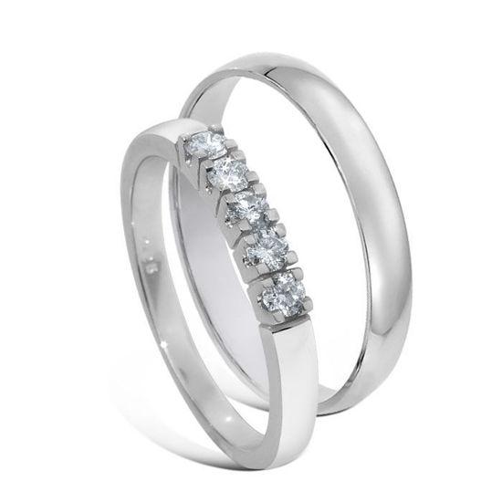 Giftering & diamantring 0,25ct hvitt gull 14 kt, 3 mm - 1330-8505050