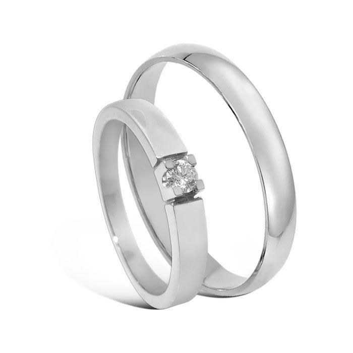 Giftering & diamantring Iselin hvitt gull 14 kt, 3 mm - 1330-8501007