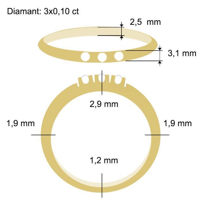 Diamantring Iselin med 3x0,10 ct TW-Si-85030100