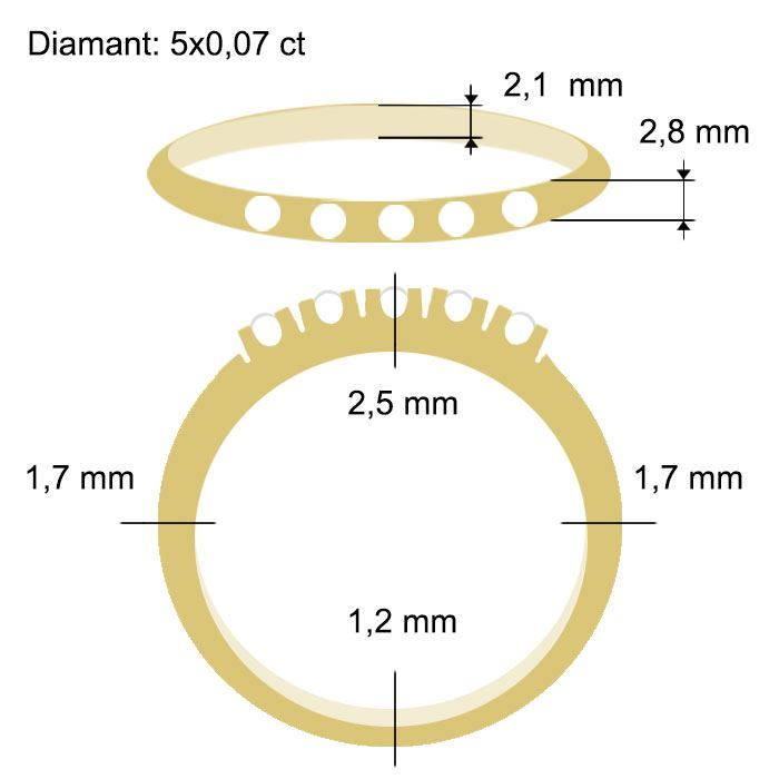 Diamantring Iselin med 5x0,07 ct TW-Si-85050700