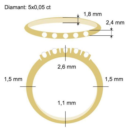 Diamantring Iselin med 5x0,05 ct TW-Si-85050500