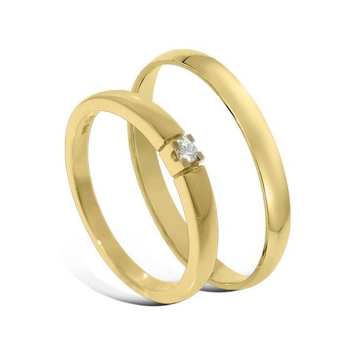 Giftering & diamantring Iselin gult gull 14k, 2.5 mm - 1225-85010030