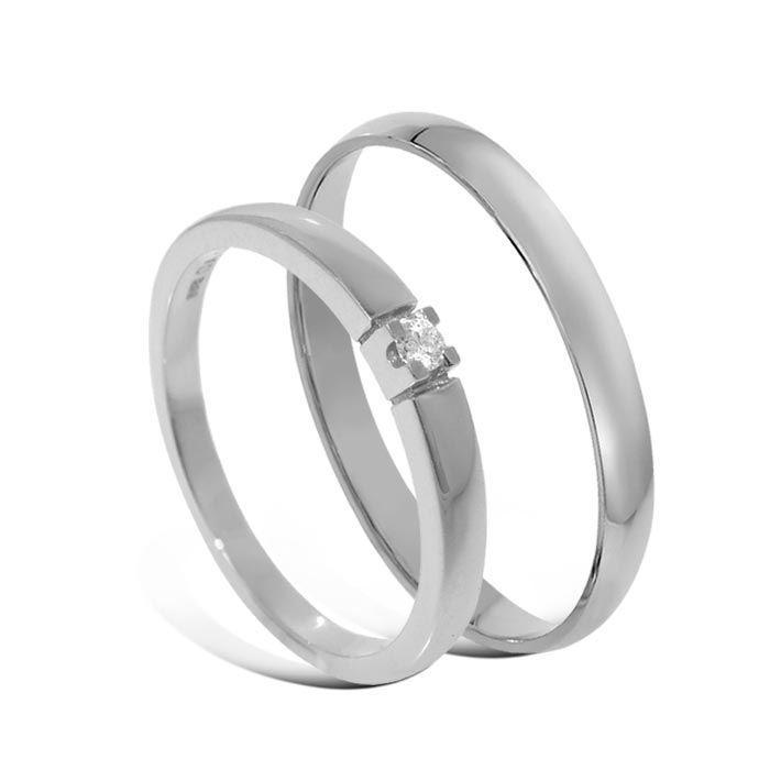 Giftering & diamantring Iselin hvitt gull 14 kt, 2.5 mm - 1325-8501003