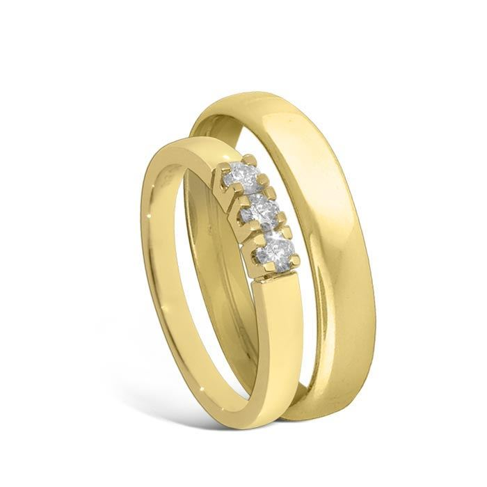 Giftering & diamantring Iselin gult gull 14k, 4 mm - 1440-85030700