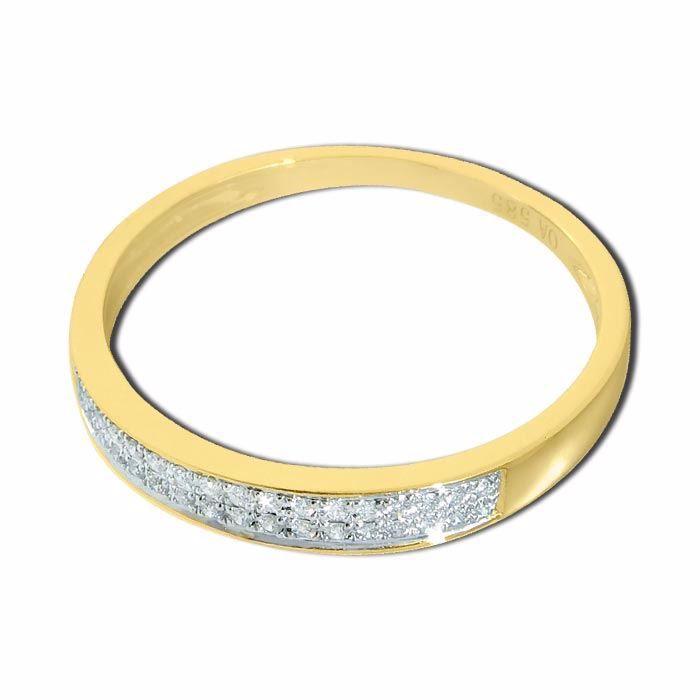 Diamantring i gult gull med 0,08 ct W-Si-33070080