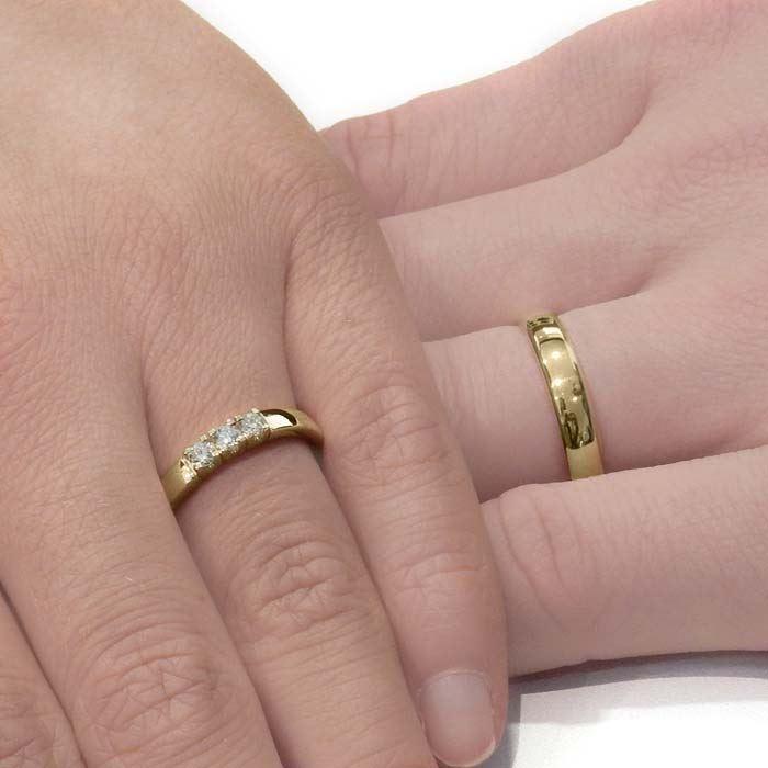 Giftering & diamantring Iselin 0,21ct gult gull, 4 mm - 1440-85030700