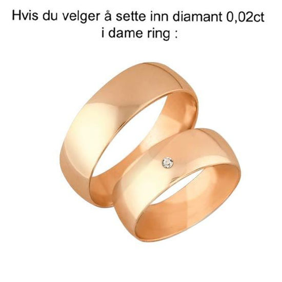 Gifteringer i rosé gull 14kt, 6 mm. OREST – 12600