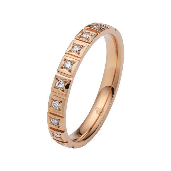 Flerstens diamantring med 0,15 ct W-Si i 9kt gull - 110350999