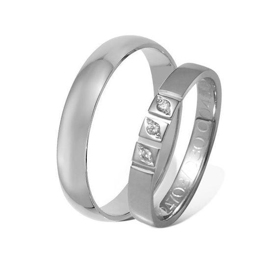 Giftering & diamantring  0,045 ct hvitt gull 4 mm - 1340-4124703