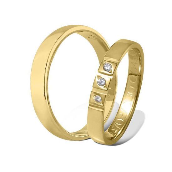 Giftering & diamantring  0,045 ct gult gull 4 mm - 115400-41247030