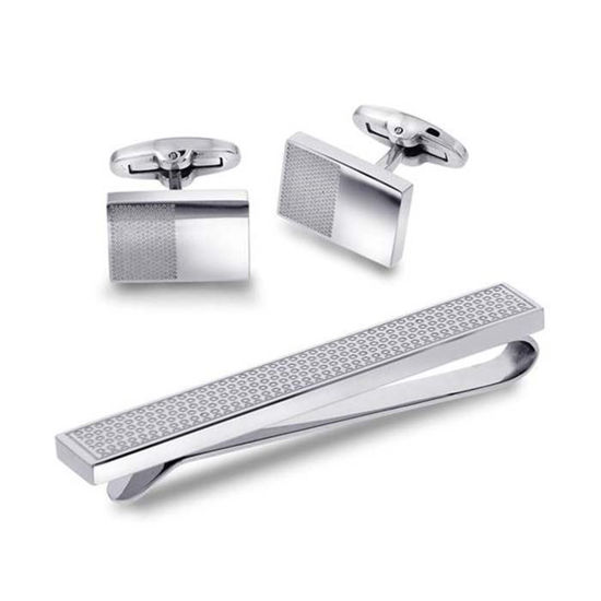 Mansjettknapper og slipsnål, sett i stål. - 972243