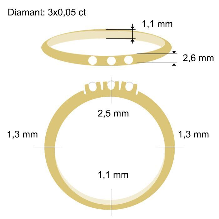Diamantring Iselin med 3x0,03 ct TW-Si-85030300