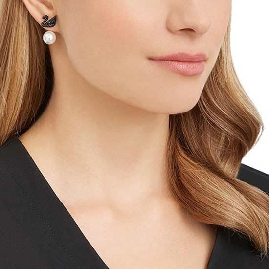 Swarovski Iconic Swan Pierced Earring Jackets, Black, Rose-gold tone plated øredobber - 5193949