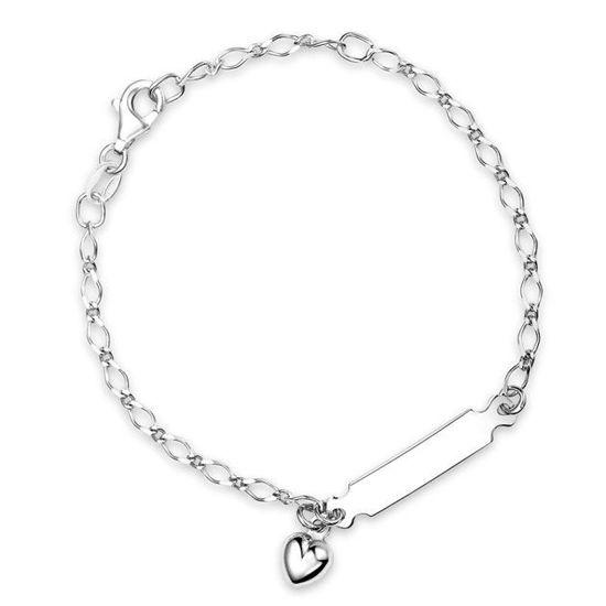 Armbånd i sølv. ID plate m/ hjerte - 60292