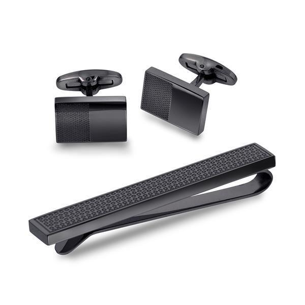 Mansjettknapper og slipsnål, sett i stål - 972242