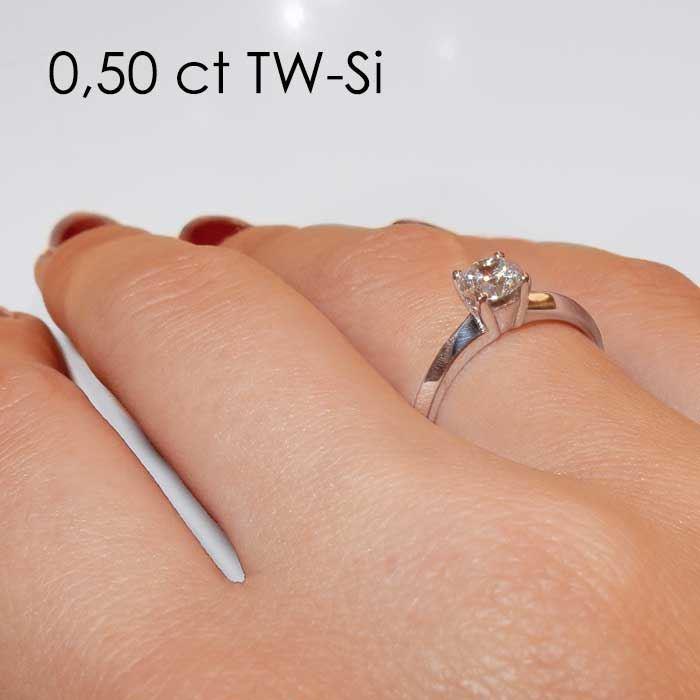 Enstens diamantring Elissa med 0,50 ct i 14kt gull. TW-Si. -18004050