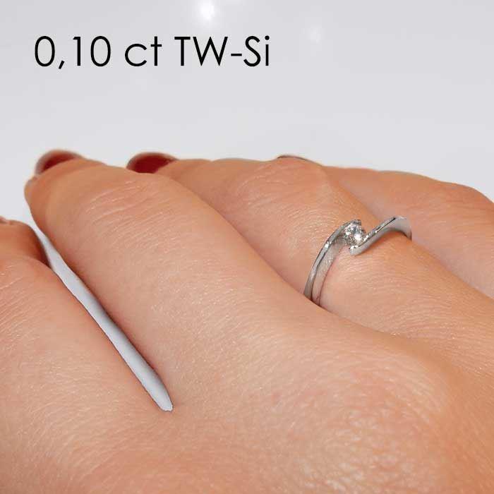 Enstens diamantring med 0,16 ct i 14kt gull. TW-Si. -18015016