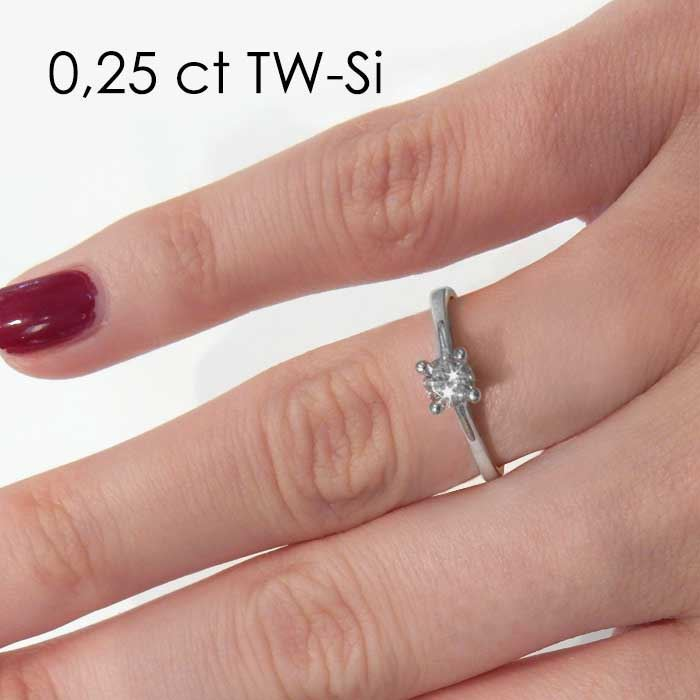 Enstens diamantring med 0,25 ct i 14kt gull. TW-Si. -18015025