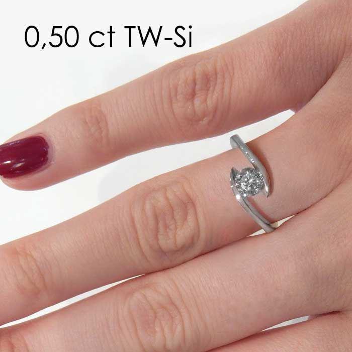 Enstens platina diamantring med 0,50 ct TW-Si -18015050pt
