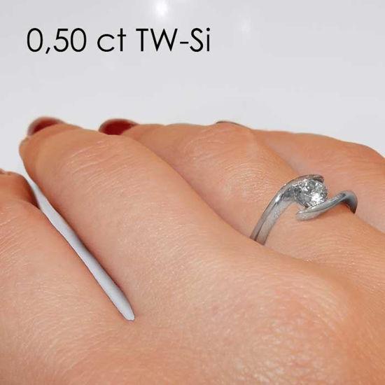 Enstens diamantring med 0,50 ct i 14kt gull. TW-Si. -18015050