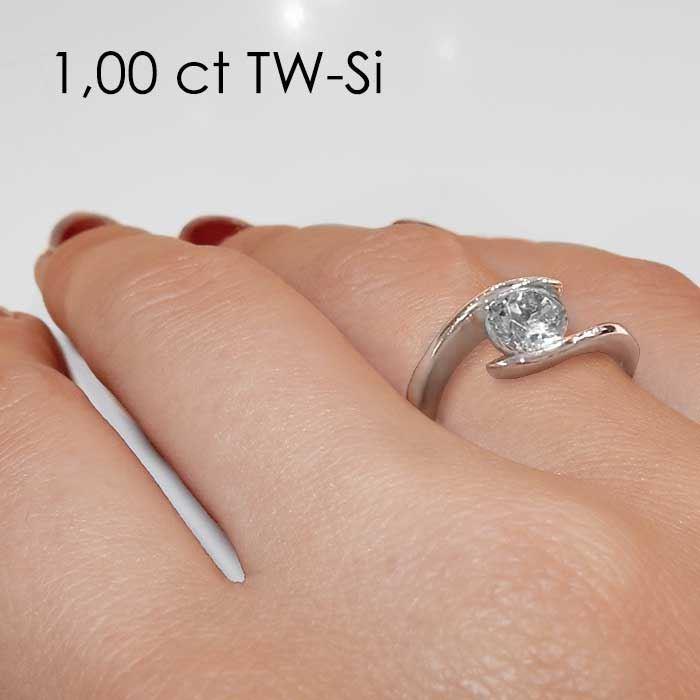 Enstens diamantring med 1,00 ct TW-Si i platina -18015100pt