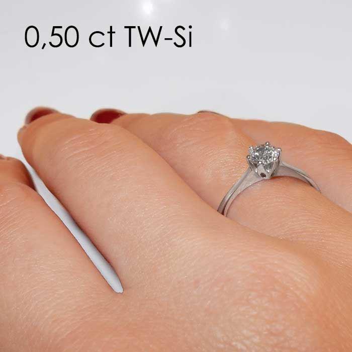 Enstens platina diamantring Aida med 0,50 ct TW-Si -18016050pt