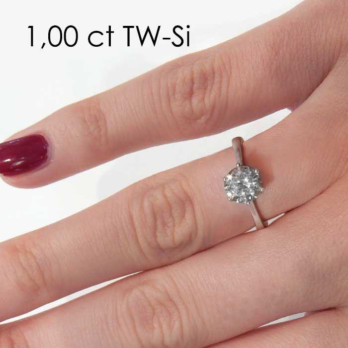 Enstens diamantring Aida med 0,70 ct i 14kt gull. TW-Si. -18016070