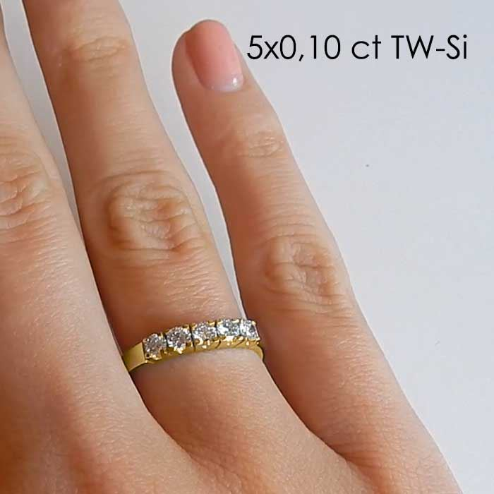Diamantring Iselin med 5x0,10 ct TW-Si-85050100