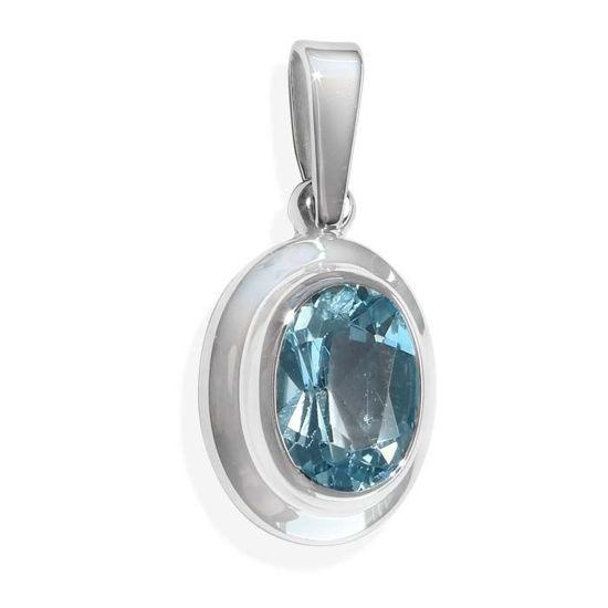 Smykke i hvitt gull med blå topas -BUR32002921