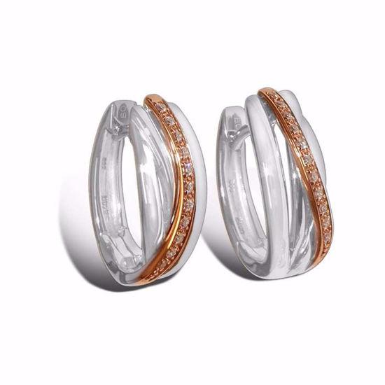 Diamant øredobber i hvitt & rødt gull - 7369372