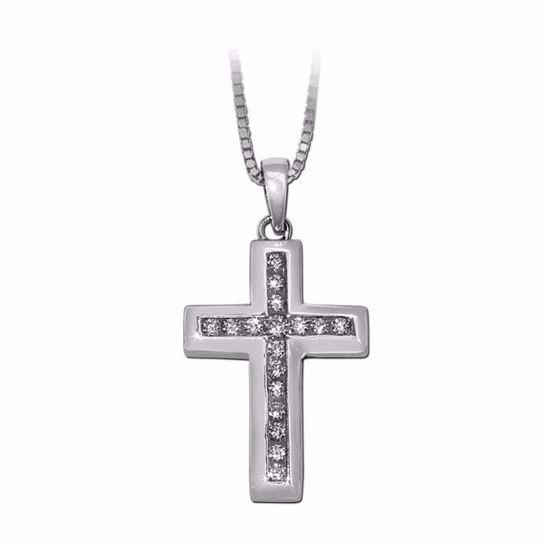 Kors i sølv med zirkonia -790147