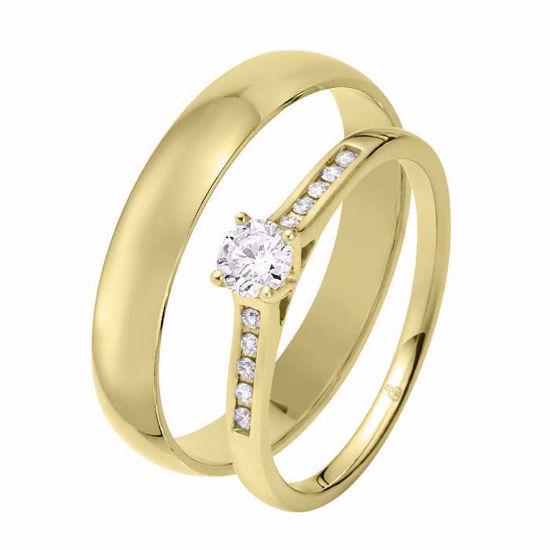 Giftering & diamantring 0,29 ct TW-Si i gult gull - 51000350-1240