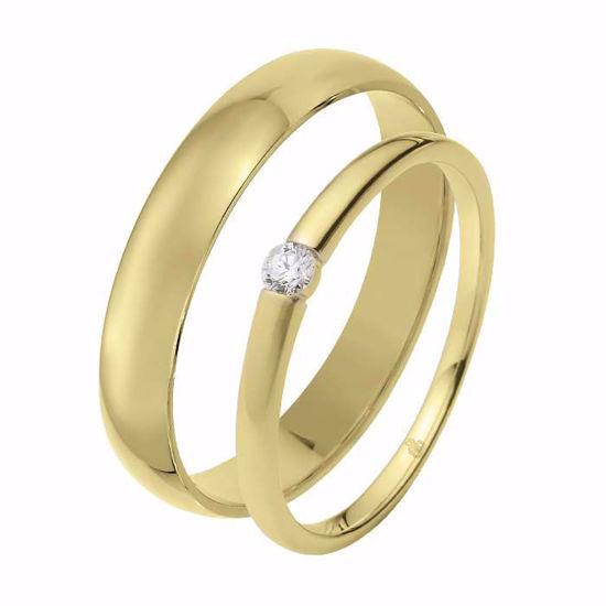 Giftering & diamantring 0,06 ct TW-Si i gult gull - 51000270-1240