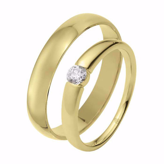 Giftering & diamantring 0,21 ct TW-Si i gult gull - 51000300-1240