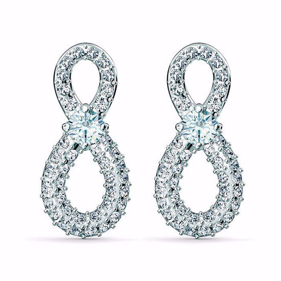 Swarovski Infinity Mini Pierced Earrings, White, Rhodium plated øredobber - 5518880