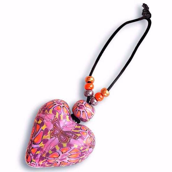Håndlaget nøkkelring , rosa hjerte - 2802075