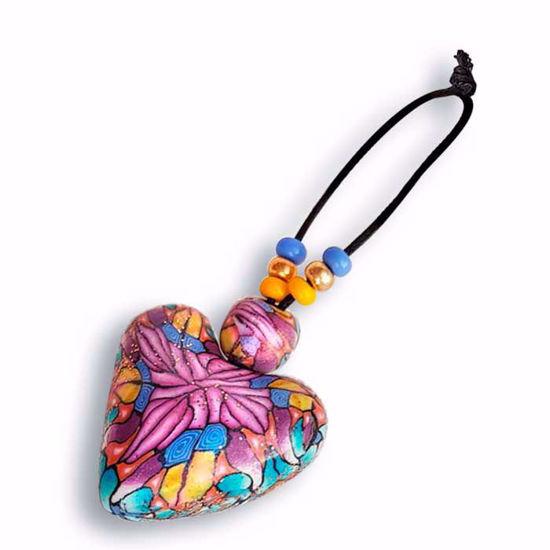Håndlaget nøkkelring , rosa & gul & blå hjerter - 2802076