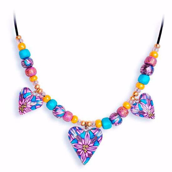 Håndlaget collier, rosa & gul & blå hjerter - 2802074