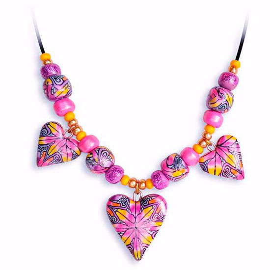 Håndlaget collier, rosa & gul hjerter - 2802072