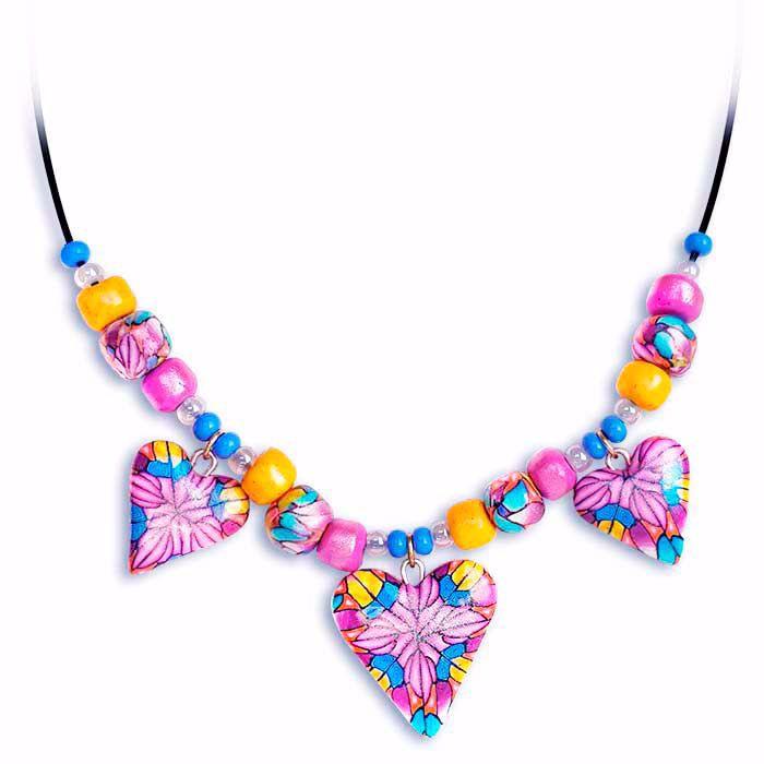 Håndlaget collier, rosa & gul & blå hjerter - 2802069