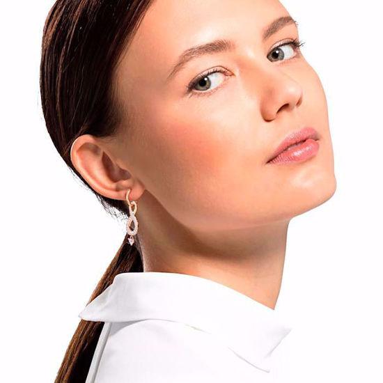 Swarovski Infinity Pierced Earrings, White, Rose-gold tone plated øredobber - 5512625