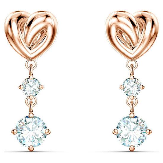 Swarovski øredobber Lifelong Heart, rose - 5517942