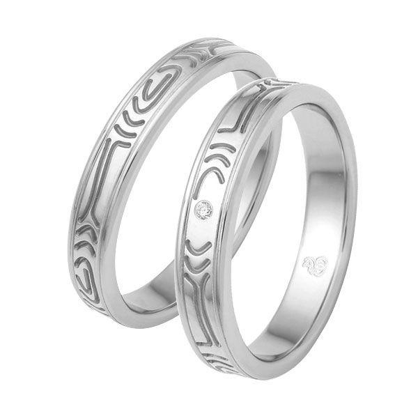 Gifteringer i stål & sølv, 4 mm med diamant. RAUSCHMAYER - 11600930