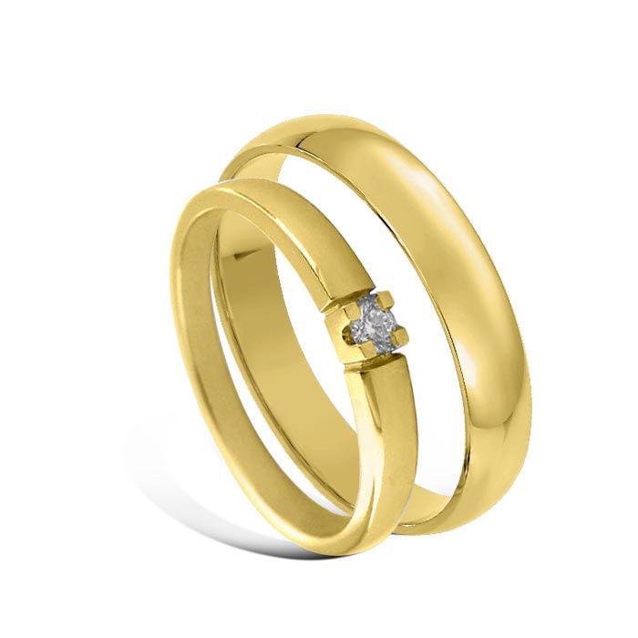 Giftering & diamantring Iselin 0,05ct gult gull, 4 mm  - 1240-85010050