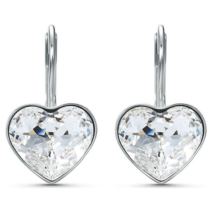 Swarovski øredobber Bella Heart Pierced Earrings, White, Rhodium plated - 5515191