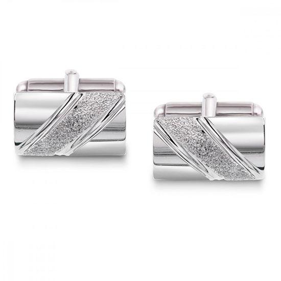 Mansjettknapper i sølv. Rhodinert - 63881