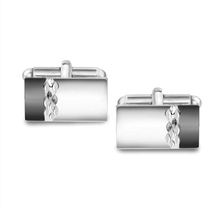 Mansjettknapper i sølv med metall bakstykke. Rhodinert - 63651