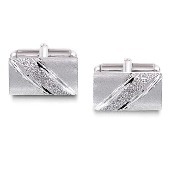Mansjettknapper i sølv med metall bakstykke. Rhodinert - 63866